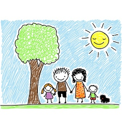 doodle family vector image vector image