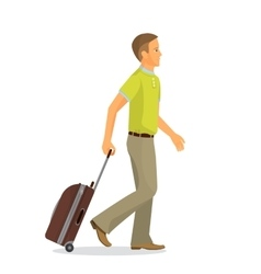 Man with suitcase is going in airport terminal vector image vector image