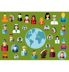 People flat avatars with global professions vector image vector image