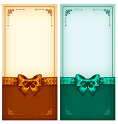 Vintage greeting cards gold and green vector image