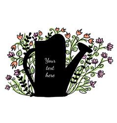 watering can with flowers in the background vector image vector image