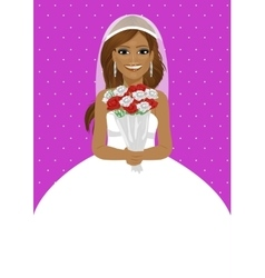 african american bride holding bouquet of roses vector image vector image
