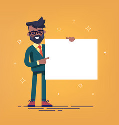 black man holding a blank banner vector image