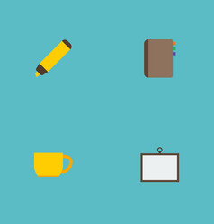 flat icons highlighter contact whiteboard and vector image vector image