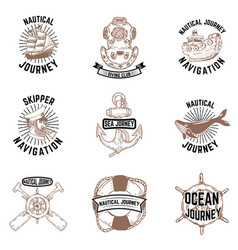 set of hand drawn nautical emblems skipper anchor vector image