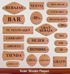 Set wooden plaque spanish vector