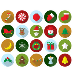 merry christmas - colorful icons vector image