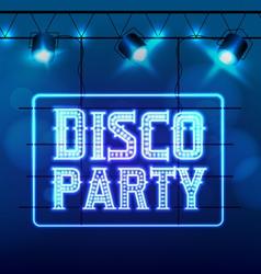Neon sign Disco party night club vector image vector image