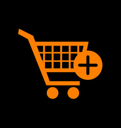 shopping cart with add mark sign orange icon on vector image