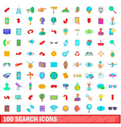 100 search icons set cartoon style vector image