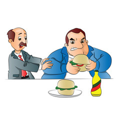 A man stopping friend from eating burger vector