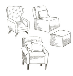 a set of different types of the chairs vector image vector image