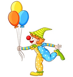 A sketch of a clown holding three balloons vector image