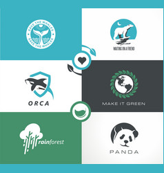abstract logo collection with wild animals vector image