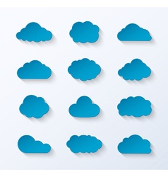 Abstract paper clouds set vector