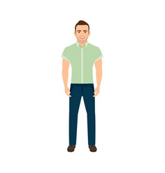 adult guy in blue shirt vector image
