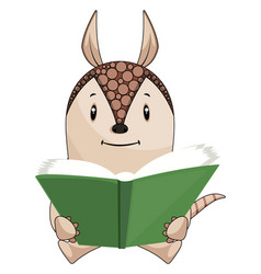 armadillo reading book on white background vector image