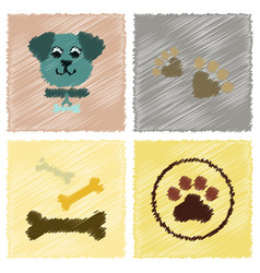 Assembly flat shading style icons traces of dog vector