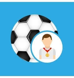 Athlete medal soccer ball icon graphic vector