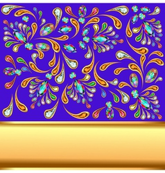 background with precious stones and gold band vector image