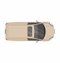 Beige minivan top view delivery truck vector