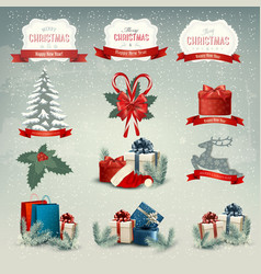 Big collection christmas icons and design vector