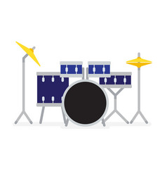 blue drum kit flat vector image