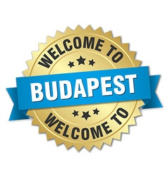 Budapest 3d gold badge with blue ribbon vector