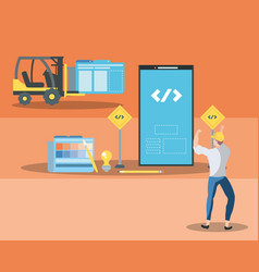 Builders and smartphone with webpage under vector