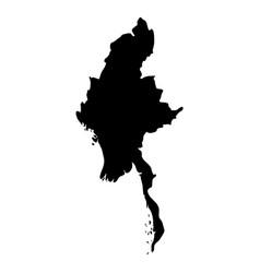 burma myanmar - solid black silhouette map of vector image