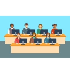 Call center agents team at office flat banner vector image