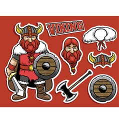 Cartoon if viking warrior vector