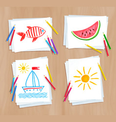 child drawing summer doodles vector image