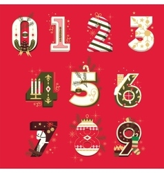 Christmas Numbers set vector image