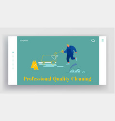 cleaning company staff working website landing vector image