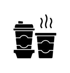 coffee to go black glyph icon vector image