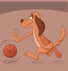 Cute dog plays basketball vector