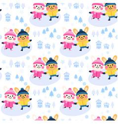 cute rabbit couple cartoon seamless pattern design vector image