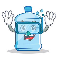 Diving gallon character cartoon style vector