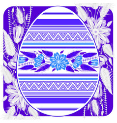 easter egg card template with ethnic pattern vector image