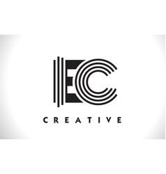 Ec logo letter with black lines design line letter vector