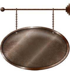 Elliptic rusty metal signboard vector image