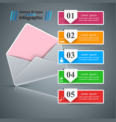 envelope mail email - business infographic five vector image