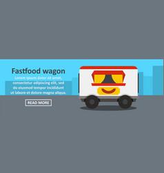 fastfood wagon banner horizontal concept vector image