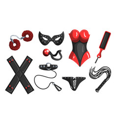 Fetish stuff for role playing and bdsm sett of vector