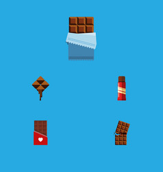 Flat icon bitter set of wrapper sweet chocolate vector