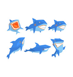 flat set blue shark in different poses vector image