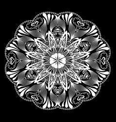 floral lace mandala pattern black and white vector image