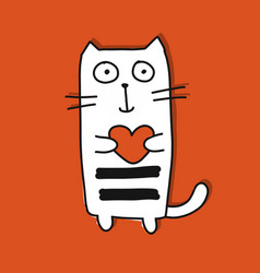funny cat with heart sketch for your design vector image