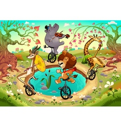 Funny wild animals on unicycles are playing vector